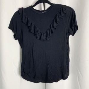 H&M Black ruffle front blouse S